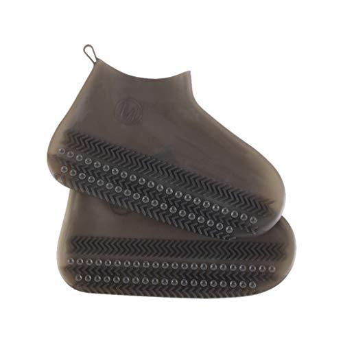 Rain Boot Shoe Covers Silicone, Reusable Waterproof Rain Socks, Slip-resistant Rubber Shoe Protectors Indoor Outdoor Amiley (Brown)