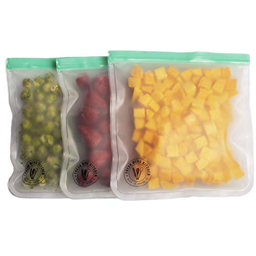 3 Reusable Freezer Bags Gallon Size by Fresh Menu Kitchen- Extra Thick and Large Reusable Food Storage Bags with Airtight Seal Perfect for Soups, Kitchen Storage and Freezer Meals