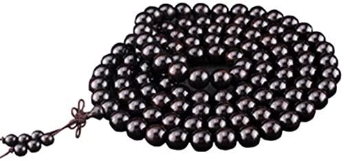 Pulsera Feng Shui Bead Hecho a mano 108 Pulseras naturales en Sandalwood - Joyas de pulsera de cuentas budistas de sándalo negro - 10mm / 12mm / 15mm 108 Pulsera de perlas de oración - 15mm Pulsera de
