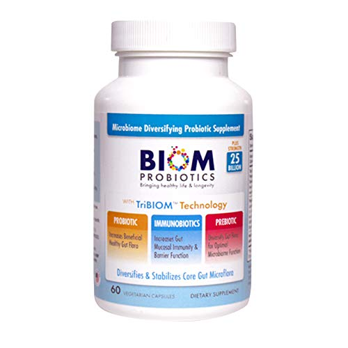 Biom Probiotics 3-in-1 Formula (Cold Shipped) with- 25 Billion Flora Probiotics, Prebiotics and Immunobiotics for Better Immune Function - Diversifies Gut Microflora and Microbiome - for Men & Women