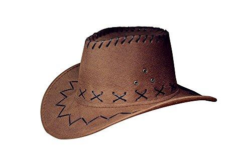 Miobo Cowboyhut Westernhut Cowgirl australien Texas Cowboy Hut Hüte Western für Erwachsene und Kinder (One Size, dunkel braun für Kinder)