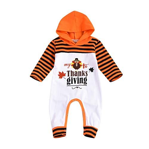 Thanksgiving Bekleidungsset Baby Mädchen Junge Kapuzen Jumpsuit Langarm Babybody Gestreifte Bedruckte Hoodie Strampler, Orange, 6-12 Monate