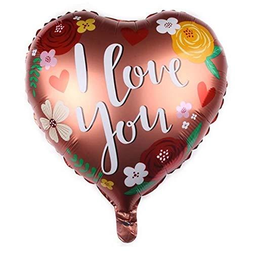 DIWULI, Herzballon I Love You, edler Luftballon in Herzform, Herz-Ballon, Herzluftballon, Herzfolienballon, Folien-Luftballon, Folien-Ballon für Geburtstag, Hochzeit, Dekoration, Liebe, Blumen