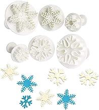 Anokay 6-delig sneeuwvlokken fondant uitsteekvormen set uitwerper stempel taartdecoratie bakaccessoires