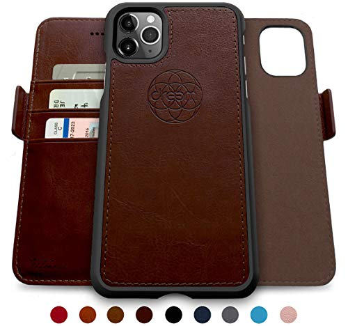 Dreem Fibonacci 2-in-1 Wallet-Case for iPhone 11 Pro, Magnetic Detachable Shock-Proof TPU Slim-Case, Wireless Charging OK, RFID Protection, 2-Way Stand, Luxury Vegan Leather, Gift-Box - Coffee