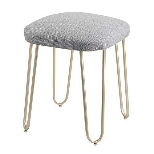 YLCJ kruk kruk in Europese stijl kleedje kruk modern minimalistisch slaapkamer creatieve make-up kruk kruk salontafel (kleur: blauw, maat: gouden voeten) Champagne feet Light Gray