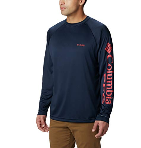 Columbia Men's PFG Terminal Tackle Long Sleeve Tee , Collegiate Navy/Sunset Red, X-Large