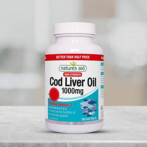 Natures Aid Cod Liver Oil, 1000 mg, 180 Softgel Capsules (High Strength, 254 mg Omega-3 with Vitamins A and D for Normal Function of the Immune System, Made in the UK)