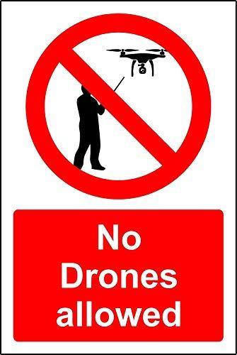 Geen drones toegestaan verbod Veiligheidsbord - 3mm Aluminium teken 800mm x 600mm