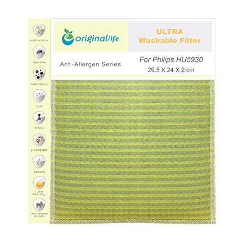 Originallife ULTRA Filtro de purificación de aire para Philips HU5930 – Lavable, reutilizable, antiolores y antialérgenos