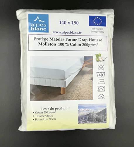 Alpes Blanc Protège Matelas 100% Coton 200gr/m² Forme Drap Housse/Protège Matelas Larges Bonnets Pur Coton (140_x_190_cm)