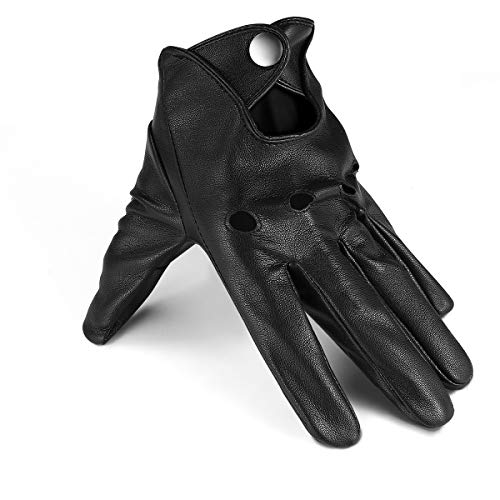 Driving Gloves Thin Black Leather Gloves Mens Driving Gloves Touchscreen Outdoor Sports, Pu/Black, PU/9.5/L