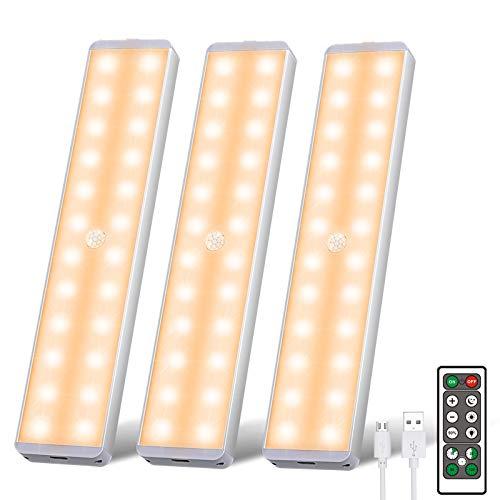 Uooser Lámpara LED para debajo de muebles con detector de movimiento, mando a distancia, 3 unidades, 24 ledes, barra de luz regulable, USB recargable, luz nocturna para armario, blanco cálido