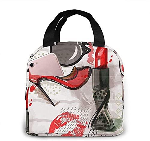 Lápiz labial cosmético Perfume Arte Impreso Bolsas de almuerzo Fiambrera aislada para adultos para picnic Senderismo Playa Viajes Organizador de almacenamiento de alimentos reutilizable