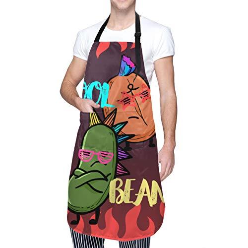NOBRAND - Delantal de cocina para hombre y mujer, con bolsillos, tela Oxford para adultos (100% poliéster), para casa, restaurante, jardín, barbacoa, café, casa, negro, talla única
