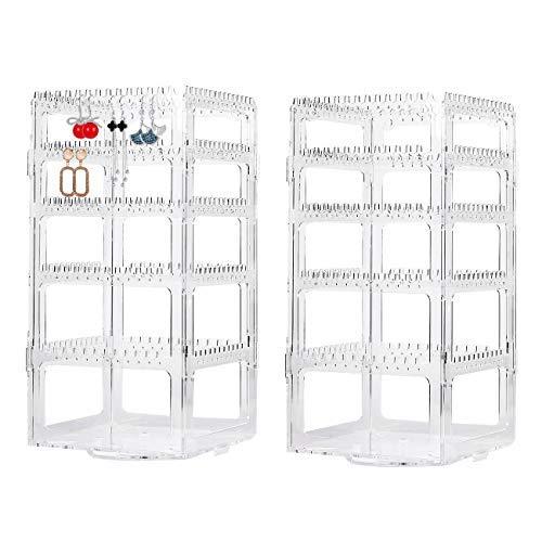 Paquete de 2 sostenedores de pendientes giratorios transparentes de 360 grados, organizador de joyas de acrílico para pendientes, estante de exhibición, joyería de 4 niveles..