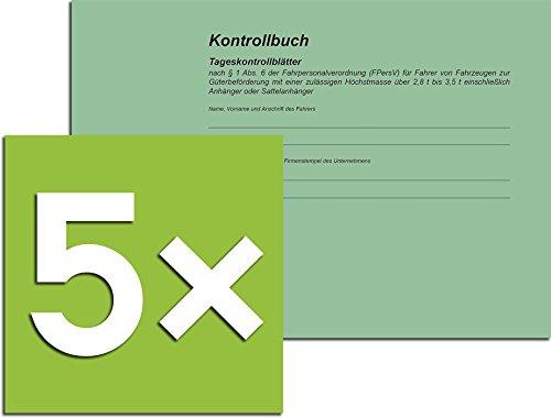 RNK Kontrollbuch 3095 (nach § 1 vormals § 6 Abs. 6 FPersV), Din A5 Quer, 32 Blatt (5er Set)