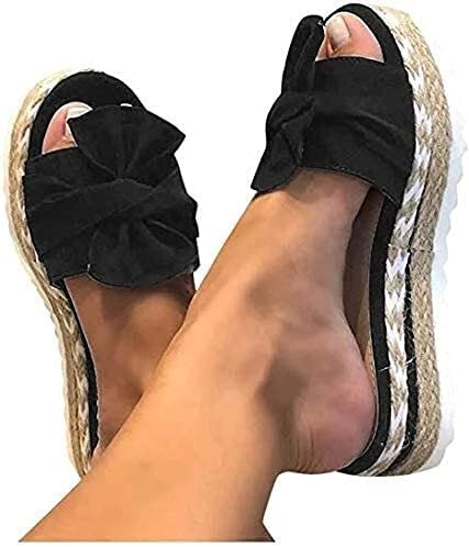 Summer Women's Wedge Sandals,Bow Tie Lace Flip-Flops, One-Step Platform Slippers, Open-Toe Breathable Shoes (Color : Black, Size : 9)