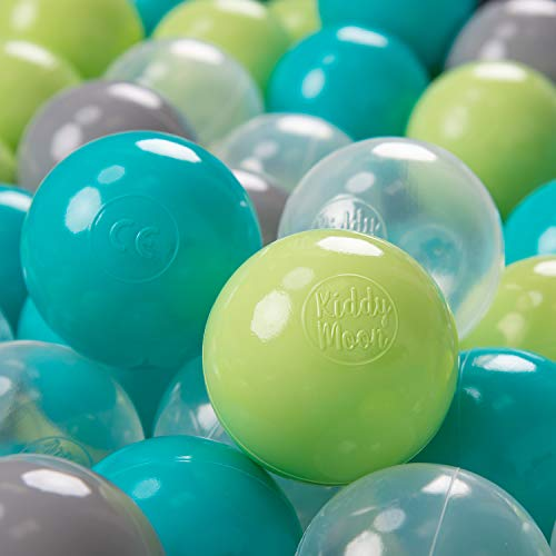 KiddyMoon 300 ∅ 7Cm Kinder Bälle Spielbälle Für Bällebad Baby Plastikbälle Made In EU, Türkis/Hellgrün/Grau/Transparent