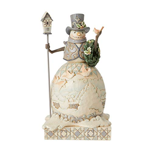 Enesco Jim Shore Heartwood Creek White Woodland Snowman with Cardinals and Wreath Figurine, 9.25 Inch, Multicoloured