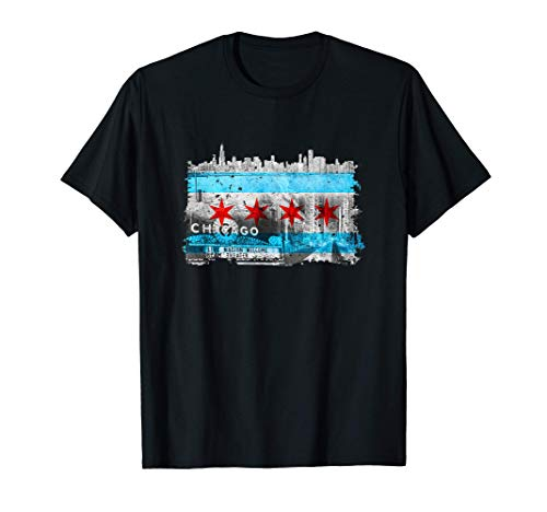 Chicago Souvenir Chicago Gifts Chicago Skyline Chicago Flag T-Shirt