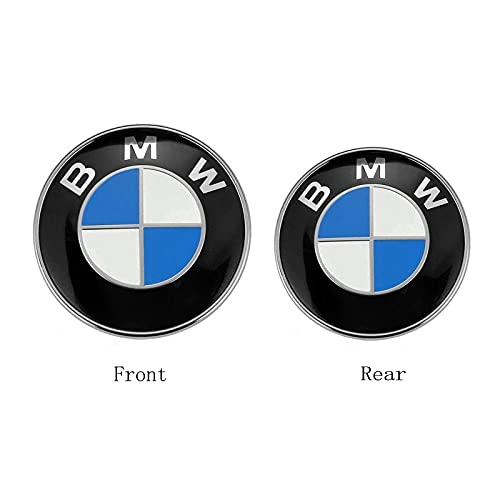 Fit for BMW Emblem Trunk and Hood,for BMW Emblem Logo Replacement 82mm + 74mm Fit for All Models BMW X3 X5 X6 3 4 5 6 7 8 Series 325i 328i E30 E36 E46 E34 E39 E60 E65 E38 X3 X5 X6 3 4 5 6 7 8