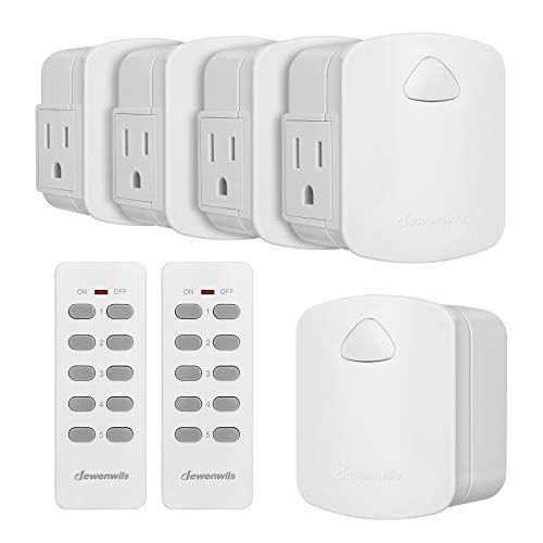 DEWENWILS Remote Control Outlet, Upgraded Version Wireless Remote Light Switch for Lamp, Household Appliances, 15A/1875W, 100 FT Long Range, ETL Listed, White (2 Remotes + 5 Outlets Set)