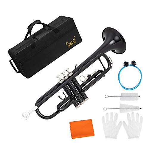 GLARRY Standard Trumpet Brass Bb Trumpet for Students and beginners w/Hard Case, Gloves, 7C Mouthpiece and Trumpet Cleaning Kit (Black)
