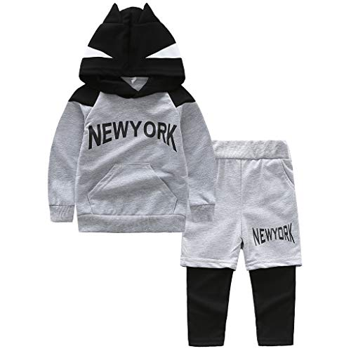 Kleinkind Kinder Baby Jungen Cartoon Ohr Kapuzen Sweatshirt Tops + Hosen Outfits Set Trainingsanzug Sportanzug Jogginganzug