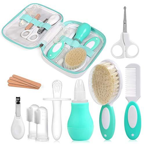 NEWSTYLE Babypflege Set,12 teiliges Set für Baby Alltag Pflege Mit Baby Gesundheitswesen Kit mit Nasensauger Nagel Haarpflegeset Fingerzahnbürste für zu Hause und unterwegs