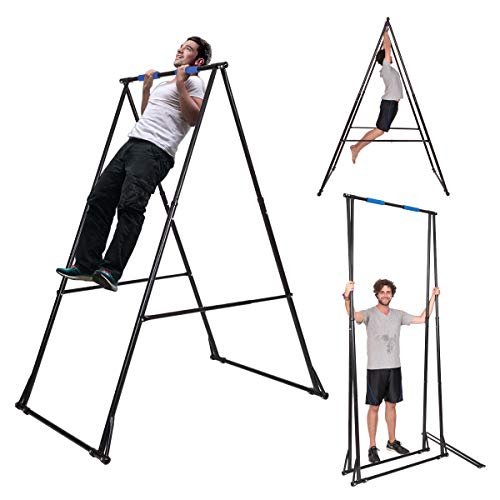 KT Toes Don't Touch Ground Foldable Free Standing Pull Up Bar Stand Sturdy Power Tower Workout Station for Home Gym Strength Training Adjustable Pullup Fitness Equipment Multifunctional Exercise Rack