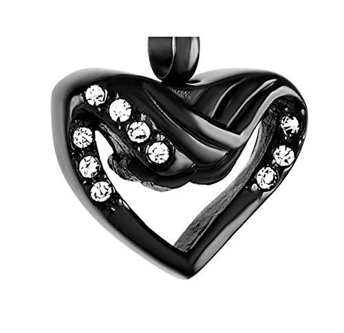 OKOC Memorial Collares Cadena Cenizas Crystal Angel Wings Heart Necklace Memorial Jewelry Cenizas De Acero Inoxidable Souvenir Cremation Ur Box Colgante-C