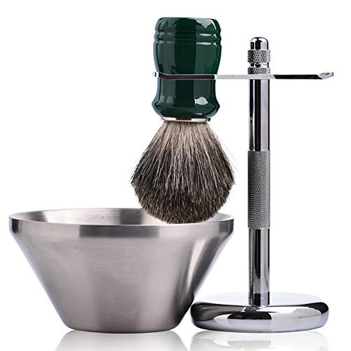 Je&Co Shaving Set,Pure badger Hair Shaving Brush with Steel Stand and Steel Bowl(set3)