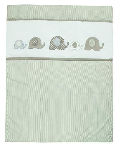 Set Alvi Baby Krabbeldecke mit Applikation mit Stoffwindel von Kinderhaus Blaubär | 100cm x 135cm | ideal als Spieldecke, Spielunterlage und Laufgittereinlage, Design:Elefant beige