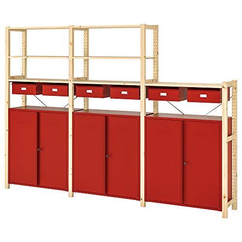 IVAR Regal mit Schränken / Schubladen 259x30x179 cm Kiefer / Rot