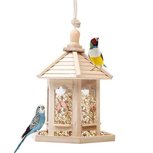 Cabane oiseaux en bois mangeoires à oiseaux suspendus Distributeur de nourriture pour oiseaux sauvages en plein air Protection des oiseaux sauvages Nourrisseur Décoration pour le jardin