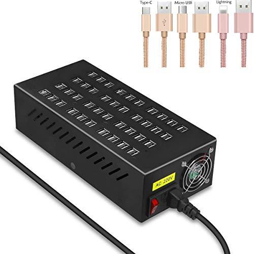 LY88 USB-laadstation met 80 aansluitingen, USB-krachtcentrale met 400 W, desktop-USB-snellader met meerdere aansluitingen, voor iPhone 7/6/Plus/6/5S/5C/IPad/hotel/school/boodschappen