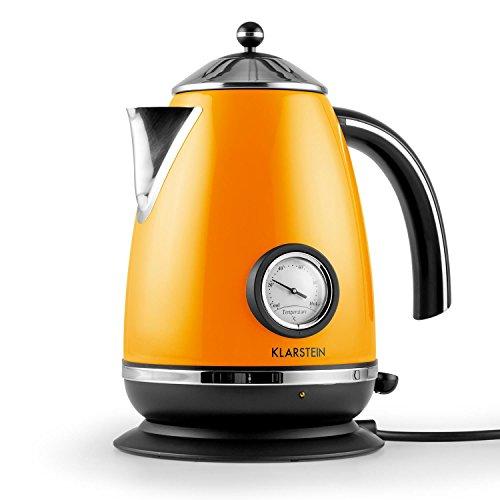 Klarstein - Aquavita Chalet, Wasserkocher, Teekocher, Retro Wasserkessel Design, 1,7 Liter, 2200 Watt, kabellos, Vintage Temperatur-Anzeige, Cool-Touch-Griff, orange