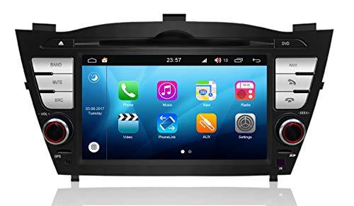 Roverone Android System 7 Zoll Doppel DIN Autoradio GPS für Hyundai ix35 Tucson 2009 2010 2011 2012 2013 mit Navigation Radio Stereo DVD Bluetooth SD USB Touch Bildschirm