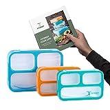 FITPREP Lunchbox Bento Brotdose - tolles 3er Set mit 2 Größen - 3 Fächer - Kinder & Erwachsene - Dicht- BPA frei inkl. schönem Rezeptheft - Bitte Maße beachten