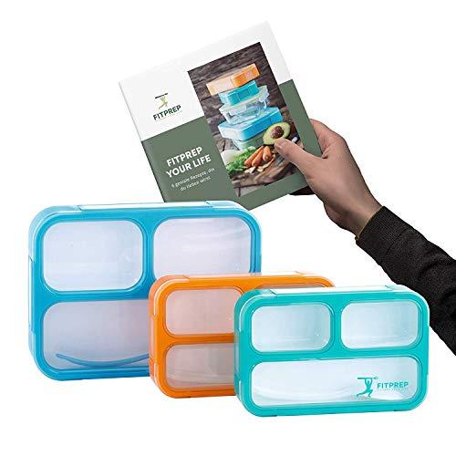 FITPREP® Lunchbox Bento Brotdose - tolles 3er Set mit 2 Größen - 3 Fächer - Kinder & Erwachsene - Dicht- BPA frei inkl. schönem Rezeptheft - Bitte Maße beachten