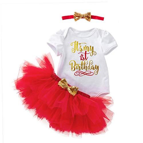 LAANCOO bebés Trajes Romper Tutu Falda con Diadema Impresa Flor para 0-2Y Infantil de cumpleaños roja de 3pcs Interior de Primavera y Verano Ropa