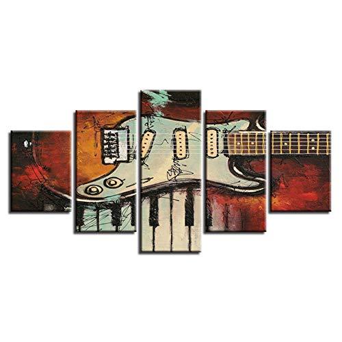 Modular Decor Room Muurschilderijen 5 stuks muziekinstrumenten gitaar en piano knoppen foto's canvas HD-Prints Kunstposters (geen lijst) 40x60 40x80 40x100cm