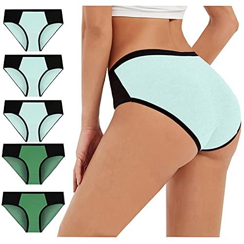 MOVERV Bragas Mujer Algodón 5 Piezas Clásicas Básicas Ropa Interior Cómoda Bragas de Bikini Tallas Grandes Suave Cómodo Pantalones Braguitas