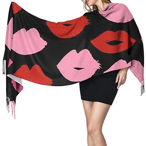 Python Mix Rot und rosa Lippenstift Schönheit Mode Frauen Winter warme Schal Mode lange große...