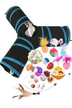 HORYDIA Jouets Chat Jouets pour Chat Interactive avec Tunnel Chat 3 Voies Tube Pliable et Léger en Tissu Postuler à Souris, Balles,Pompon et Cloches pour Chaton, Chiot, Lapin ou Cochon d'Inde.(21pcs)