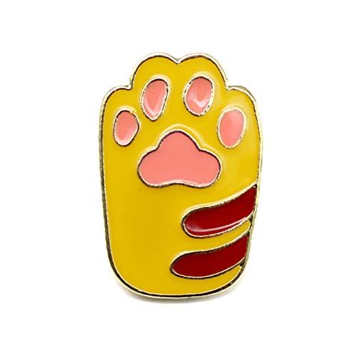 Pin de perro, lindo esmalte de dibujos animados perro gato pata broche de aleación unisex joyería regalo insignia decoración - amarillo