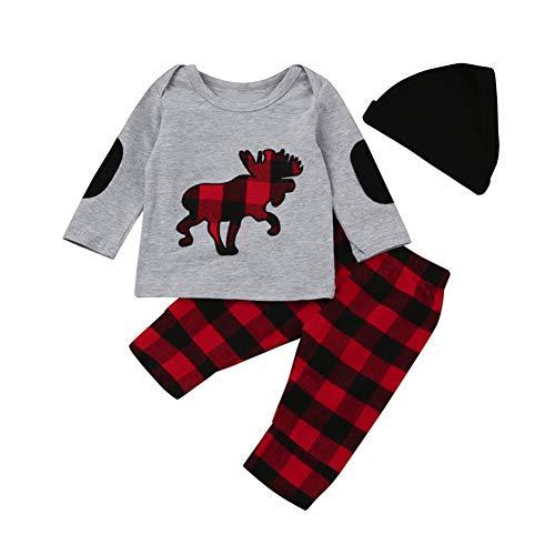 Ropa Bebe Niño Otoño Invierno,Fossen 3PC/ Conjuntos Camisetas de Manga Larga + Pantalones + Sombrero,Estilo de Animal (18-24 Meses, Gris)