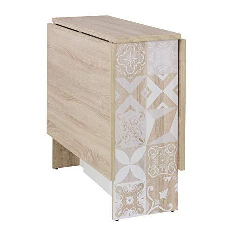 Meubletmoi - Mesa con solapas, 140 cm, color roble claro y blanco con motivos – Diseño escandinavo – Noa