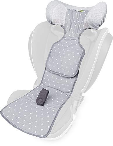Priebes Sitzauflage Linus für Kindersitze der Gruppe 1-3, Sitzschutz für Autositz waschbar, atmungsaktiver Schonbezug für Kinderautositz, Design:stars grau